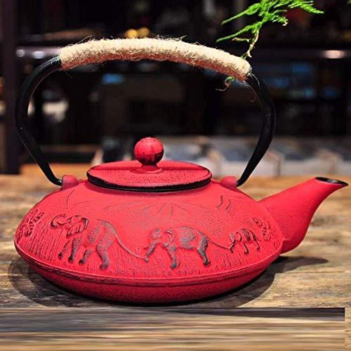 HYY-YY - Hervidor de Agua de Hierro Fundido (1200 ml), diseño de Elefante Indio, Color Negro