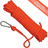 Syiswei Nylon Fishing Rope & Carabiner 1/4' 65ft. 1102lb MAX 6mm 8mm Paracord Magnet Fishing Utility Rope...