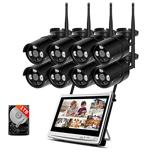 HYLH WLAN Heimuuml;berwachung System Set, 1080P 8 Channels 12inch Monitor NVR Heimuuml;berwachung Kamera Kit, mit 8PCS 960P Wasserfeste IP Uuml;berwachungs Kameras,P2P,Vorinstallierte 1-TB-Festplatte