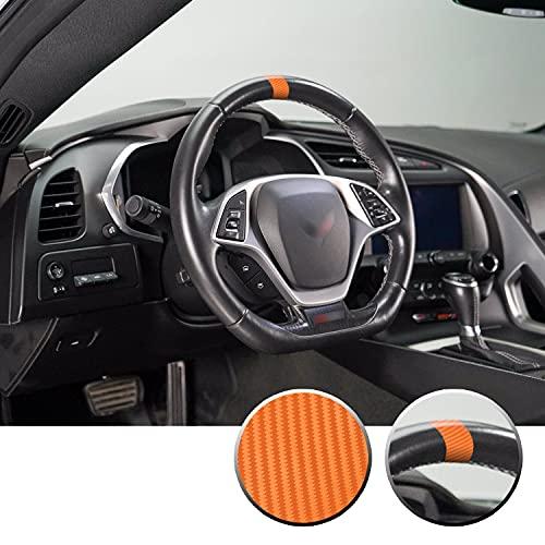 Steering Wheel Stripe Overlay Pre Cut Graphic Vinyl Decal Compatible with Chevy Corvette C4 C5 C6 C7 C8 1984-2021 - Carbon Fiber Orange