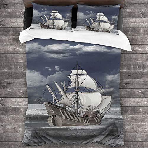 BEITUOLA Juego de Funda nórdica,Barco de Piratas del Caribe de Cielo Nublado impresión al óleo como Imagen artística,1 Funda de Edredón y 2 Fundas de Almohada 240 x 260cm