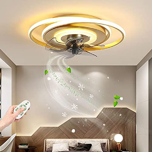ZBYL Mando Ventilador de Techo Silencioso LED Ventilador de Techo con Luz y Mando a Distancia Regulable Iluminación del Ventilador 3 Velocidades De Viento Lámpara de Techo Fan Inteligente, Dorado