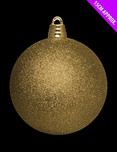 christmasshop 15cm Giant Glitter Oro Bauble - Decorazioni di Natale - Albero di guarnizioni.