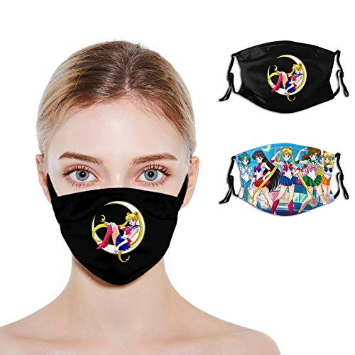 Sailor Moon Anime Face Mask Mens Womens Windproof Anti-Dust Face Mask with 4 Filter Reusable Balaclava Face Mask