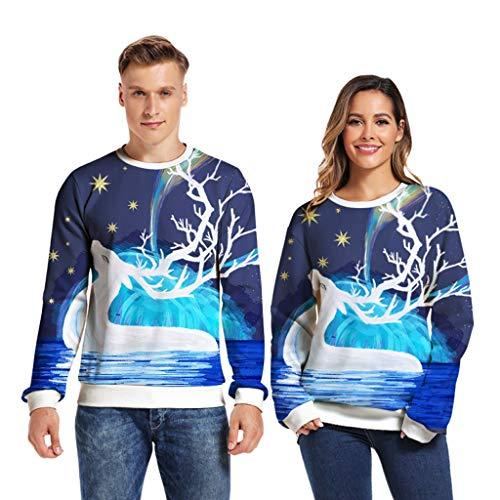 ZHANSANFM Weihnachts Pullover Paar Unisex 3D Druck Schneemann Sweatshirt Casual Warm Langarm Loose Oberteil Weihnachtspulli Mode Party Sweater christmas Geschenk Shirt Bluse (S, Blau)