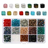 Phogary 1200 unids Cube Glass Beads, Crystal Square Spacer Beads, 4 mm Rondelle Shape para DIY Crafting (15 Colores)