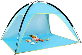 Lixada Beach Tent, UV Protection Sun Shelter Portable Sun Shade Canopy - 3-Side Open, Windproof, Lightweight, Easy Set Up Camping Picnic Fishing Tents with Carrying Bag, Fits 1-3 Person