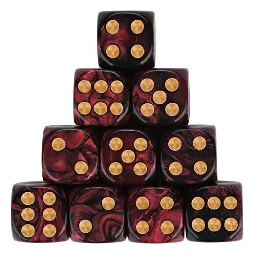 AMhomely 10PC Würfelset sortierten Transparente Farbe mit je 16mm d6 Standardwürfel,Würfel Spielwürfel Spiel Spielezubehör Knobeln Augen Cube transparent bunt (G)