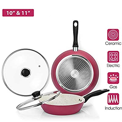 10''&11'' Nonstick Frying Cookware Sets With Glass Lids - 2 Pieces Stone Earth Skillet, 100% Toxic Free Coating, PTFE&PFOA Free, Healthy Pans, Ergonomic Handle, Compatible For All Stoves, Pink…