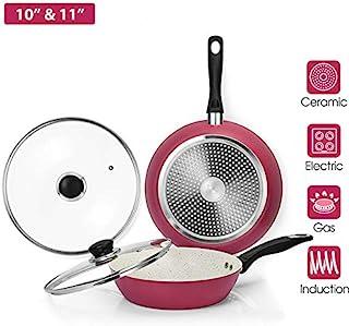 CSK Pearl & Amaranth Nonstick Ceramic Pan With 2 Lids - 10'' Skillet & 11'' Saute Pan, APEO,PTFE&PFOA Free, Heat Resistant...
