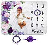 Baby Monthly Milestone Blanket | Includes Floral Wreath & Headband | 1 to 12 Months | 100% Premium Extra Soft Fleece | Best Photography Backdrop Photo Prop for Newborn | Baby Girl