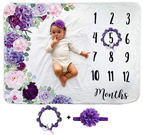 Baby Monthly Milestone Blanket | Includes Floral Wreath &...