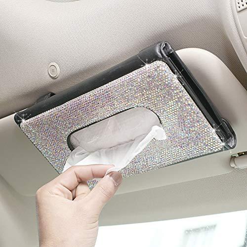 tunfo Car Sun Visor Tissue Box,Bling Bling Crystal Sparkling Napkin Holder,PU Leather Backseat Tissue Case(RB Color)