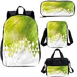 Conjunto de mochila escolar y bolsa de almuerzo verde de 17 pulgadas, diseño abstracto triángulo 4 en 1 conjuntos de mochila