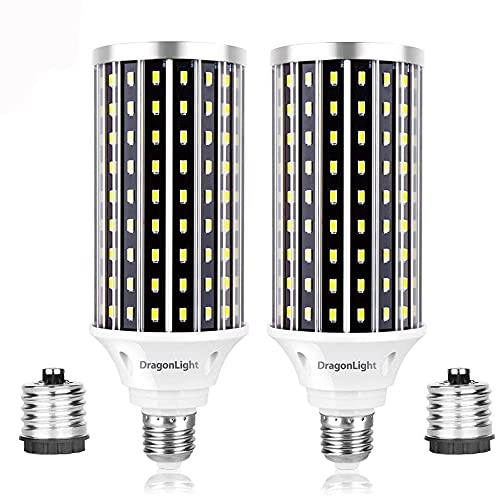 DragonLight Bombillas LED superbrillantes de 50 W (equivalente a 400 W) – 3000 K blanco cálido 5000 lúmenes E27/E40 Edison para iluminación comercial, garaje, taller, oficina o patio (2 unidades)