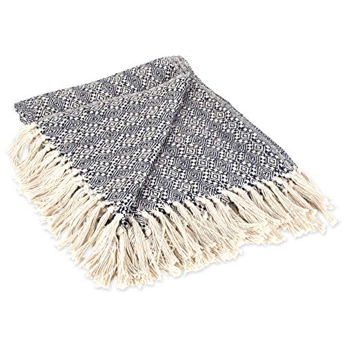 DII Rustic Farmhouse Cotton Diamond Patterned Blanket Throw with Fringe For Chair, Couch, Picnic, Camping, Beach, & Everyday Use , 50 x 60 - Navy Diamond Stitch