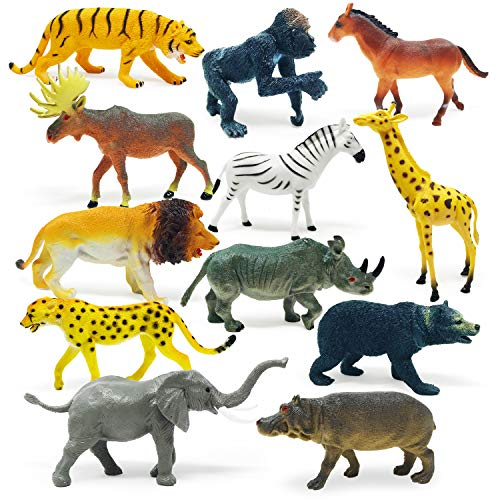 Boley 12 Piece Jumbo Safari Animal Set - Educational Zoo Animals and Jungle Animals for Kids  Children  Toddlers - Includes Elephant  Horse  Giraffe  Moose  Zebra  Bear  Gorilla  Tiger  Rhino  Lion