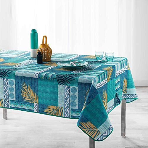 Arte Provenzale TOVAGLIA ANTIMACCHIA Dis. NEHA Rettangolare, per Sala da Pranzo e Cucina (Azzurra, 120 x 150 cm.)