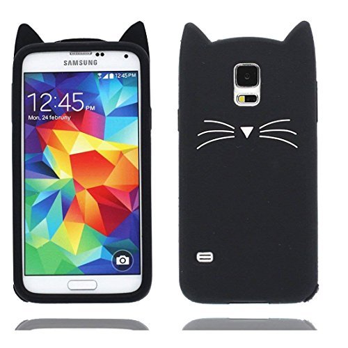 Mulafnxal Case for Samsung Galaxy S5,Soft Silicone 3D Cartoon Animal Cat Slim Cover, Cute Cases Kids Girls Shock Proof Rubber Gel Kawaii Character Fashion Protector for Samsung S5 i9600 Black Cat