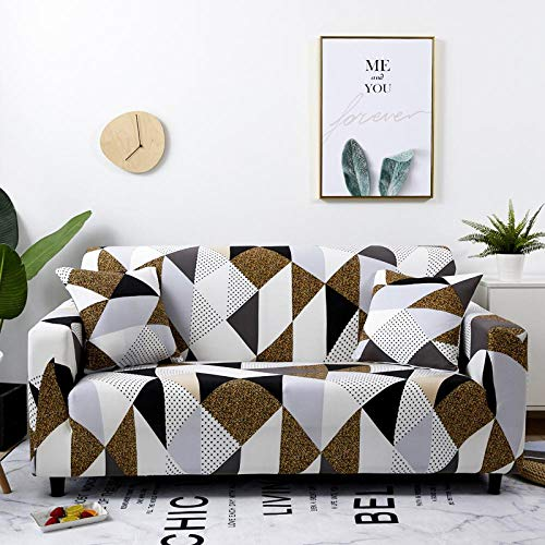 Stretch Couch Cover for 4 Seater (Free 1 pillow cases) Jacquard Sofa Cover for Living Room 1-Piece Universal Slipcover Spandex Furniture Covers for Sofa Protector Washable 235-300cm - Puzzle geometry