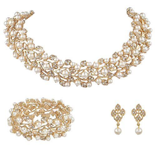 EVER FAITH Austrian Crystal Bridal Cream Simulated Pearl Leaf Jewelry Set Clear Gold-Tone