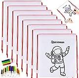 GOLDGE 16 Mochilas para Colorear+ 64 Lápices de Color, 16 Piezas Kit de Mochilas para Colorear con Rotuladores de Colores, Regalos para niños en las fiestas y cumpleaños