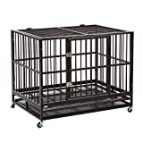Sliverylake XXL 42' Dog Crate Kennel -Heavy Duty Pet Cage Playpen w/ Metal Tray Exercise Pan