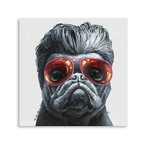 B BLINGBLING Dog Wall Art for Living Room: Handsome Bulldog with Sunglasses Canvas Wall Art for Bedroom with Frame (24