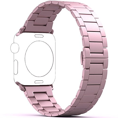 PUGO TOP Cinturino Replacement for Apple Watch Series 4 3, 0,2 cm Ultra Sottile in Acciaio Inossidabile per Apple Watch Series1/Series 2(38mm/40mm Oro Rosa)