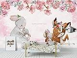 Papel Pintado Pared Conejo ciervo rosa flores Fotomural Tejido no Tejido 3D Murales...