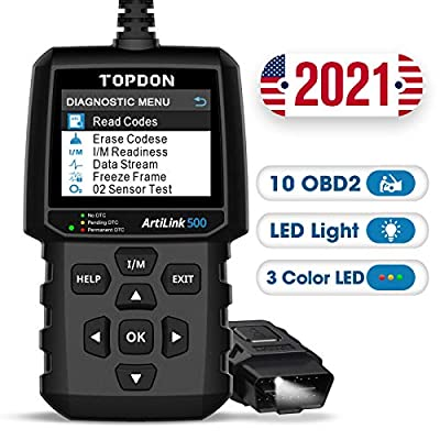 Code Reader TOPDON AL500 OBD2 Scanner Check Engine Diagnostic Tool with All OBD2 Functions, Turn Off MIL, Mode 6, O2 Sensor and EVAP Systems with LED on DLC, DTC Lookup for DIYers from TT TOPDON