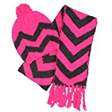 Jumping Beans Chenille Hat & Scarf 2 Item Set for Girls (M/L, Pink)