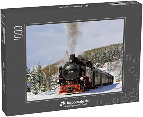 Puzzle 1000 Teile Dampfzug, Oberwiesenthal - Cranzhal (Fichtelbergbahn), Deutschland - Klassische Puzzle mit edler Motiv-Schachtel, Fotopuzzle-Kollektion 'Verkehr'