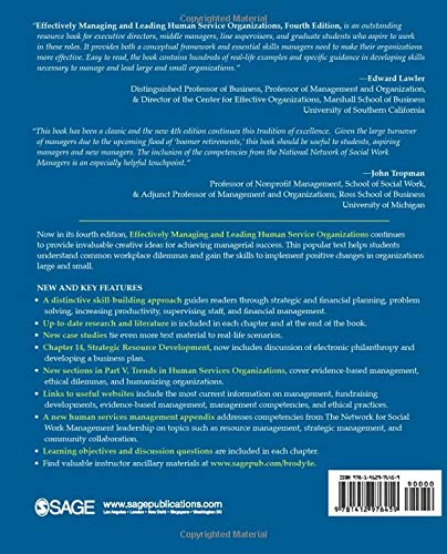 Effectively Managing and Leading Human Service Organizations (SAGE Sourcebooks for the Human Services)