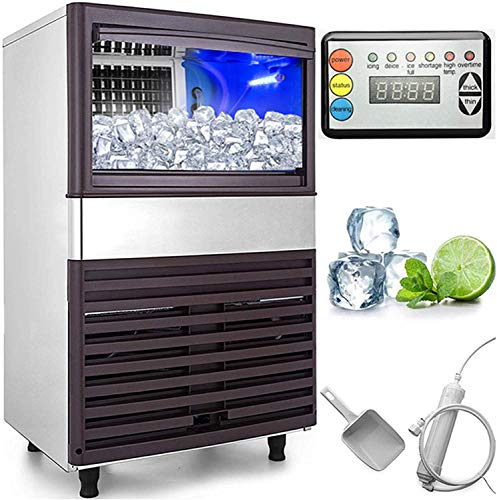 VEVOR 110V Commercial Ice Maker 132LBS/24H with 39LBS Bin Clear Cube, LED Panel, Stainless Steel, Auto Clean, Include Water Filter, Scoop, Connection Hose, Professional Refrigeration Equipment, 132LBS