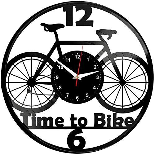 EVEVO Fahrrad Wanduhr Vinyl Schallplatte Retro-Uhr Handgefertigt Vintage-Geschenk Style Raum Home Dekorationen Tolles Geschenk Wanduhr Fahrrad