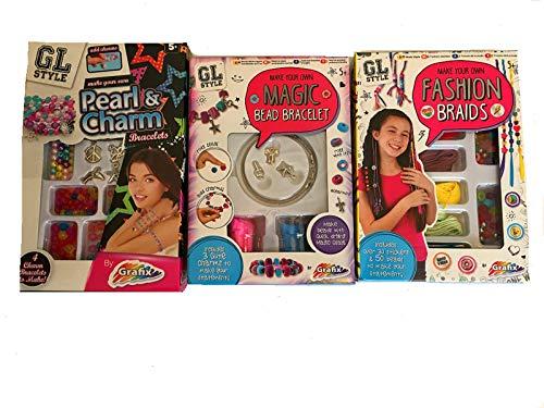 Hunky Dory Gifts Grafix Set Of 3 Make Your Own Bangles Magic Bead Bracelet Hair Braids Craft Kits