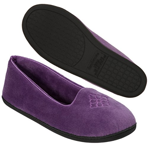 Dearfoams Women's Rebecca Microfiber Velour Closed Back Slipper,Smokey Purple,L