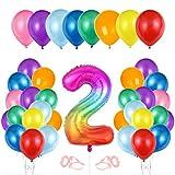 Globo cumpleaños 2 año, Globo 2 Año, Decoración de cumpleaños 2 er Colores, Globos Numeros 2 para Fiestas, Number Balloons, Set Globos Decoracion Bautizo Comunión Fiesta Cumpleaños Party