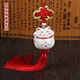 Maneki Neko Feng Shui traditionelles japanisches Porzellan Katze Anhänger Traditioneller Glücksbringer originelles Geschenk (Rot)