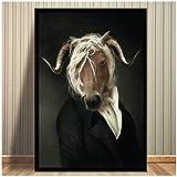 XZRDP Mode Tiere Pferd Ziege Poster Malerei Wandkunst Druck
