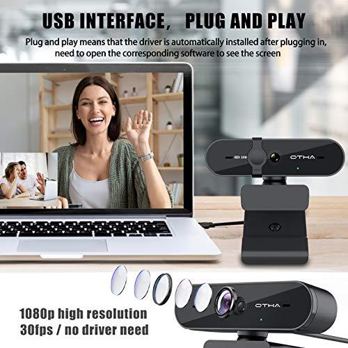 Webcam mit Mikrofon,HD 1080P Web Kamera mit Fester Fokus/Objektivdeckel, 95° Sichtfeld Videoanrufe USB Webkamera für Streaming Online Klasse, PC Webcam kompatibel mit Zoom/Skype/Teams
