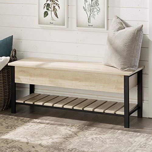 Walker Edison Furniture AZ48PCSBWO Open-Top Storage Bench, White Oak
