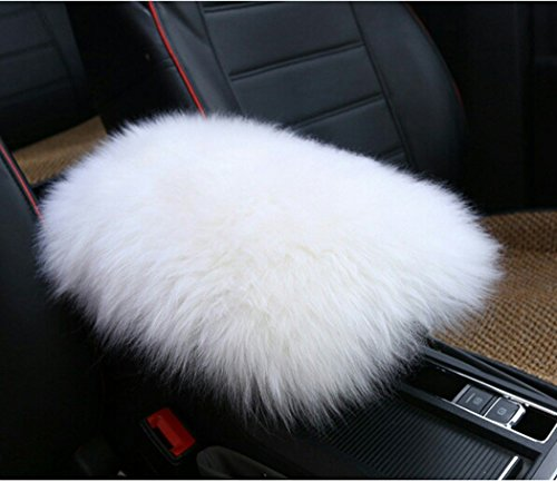 Alusbell Auto Center Console Pad, Furry Sheepskin Wool Car Armrest Seat Box Cover Protector Universal Fit (W-White)