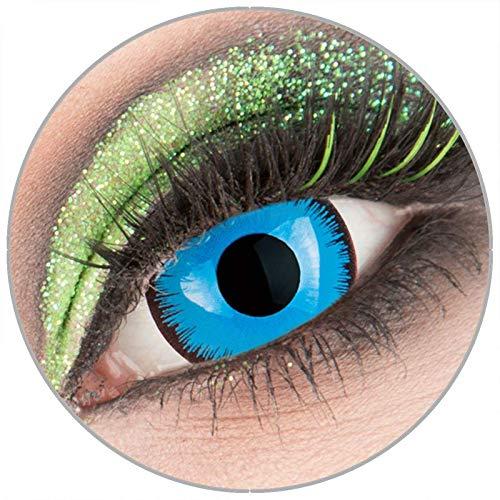 Farbige blaue 'Alper' Mini Sclera Kontaktlinsen ohne Stärke 1 Paar Crazy Fun 17 mm mit Behälter zu Fasching Karneval Halloween - Topqualität von 'Giftauge'