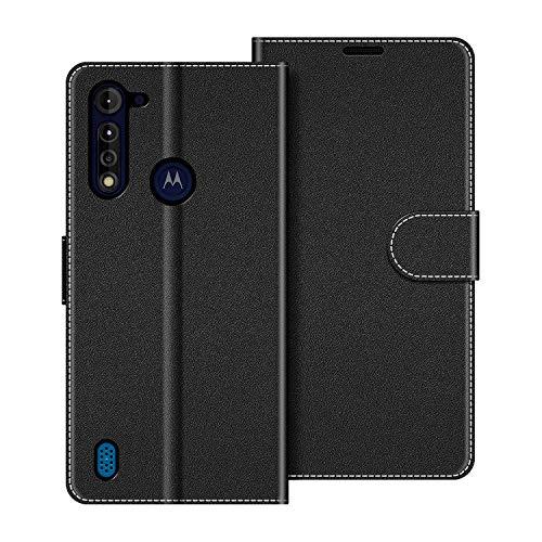 COODIO Handyhülle für Motorola Moto G8 Power Lite Handy Hülle, Motorola Moto G8 Power Lite Hülle Leder Handytasche für Motorola Moto G8 Power Lite Klapphülle Tasche, Schwarz