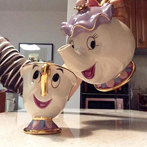 Taza De Tetera De La Bella Y La Bestia De Dibujos Animados Mrs Potts Chip Tea Pot Cup One Set Bonito Regalo De Navidad