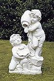 pompidu-living Wasserspeier doppelt, Knaben, Steinfigur, Gartenfigur Farbe Terracotta