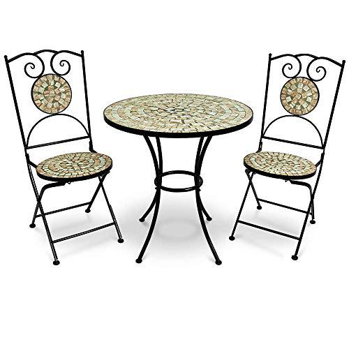 Deuba Conjunto de Muebles de jardín Mosaico Bilbao Set de Mesa y sillas Plegables terraza Patio Metal diseño Moderno 🔥