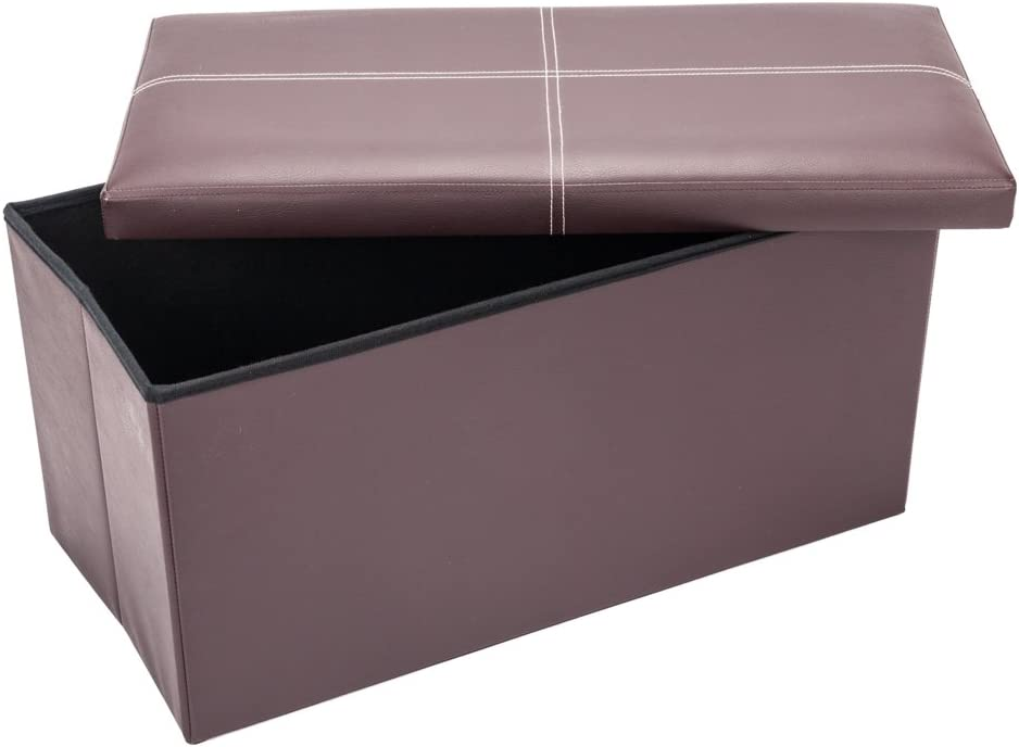 Folding Storage Ottoman Footstool PVC Reservation Padded Seat with Sales of SALE items from new works L Leather